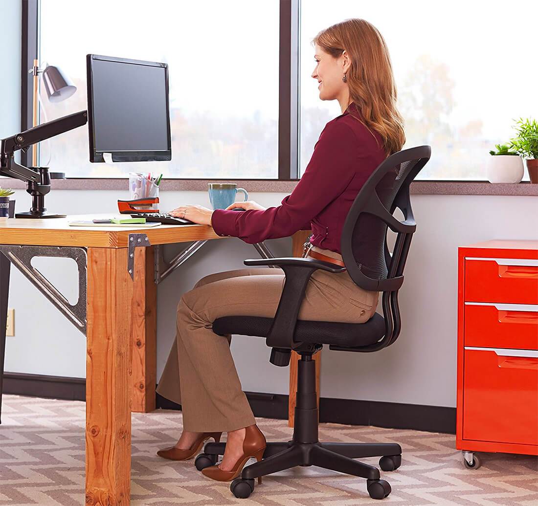 AmazonBasics Mid-Back Chair is probably the cheapest office chair with ok quality