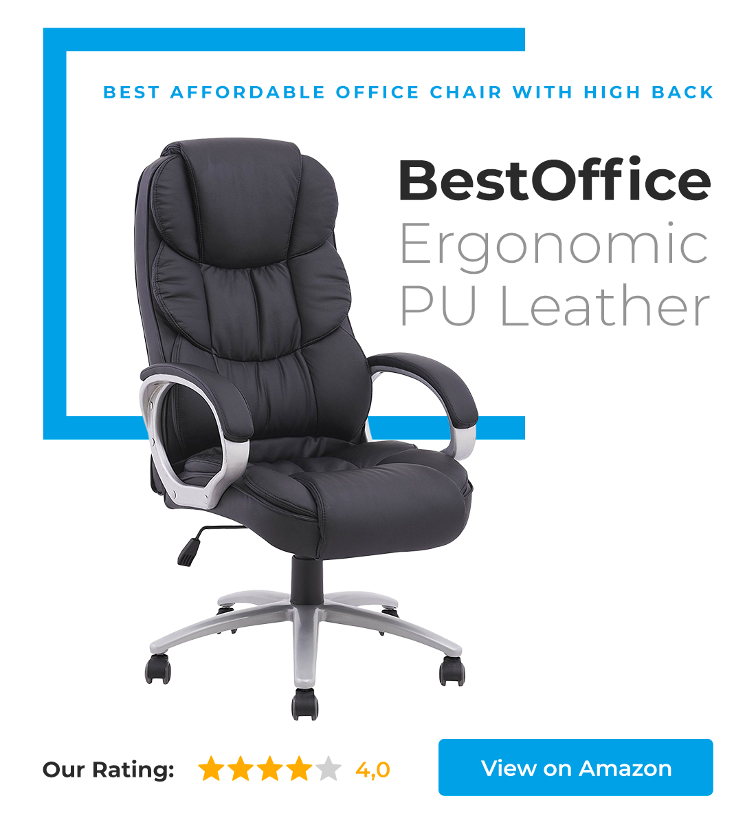 BestOffice Ergonomic PU Leather Chair is our choice in category best affordable office chair with high back