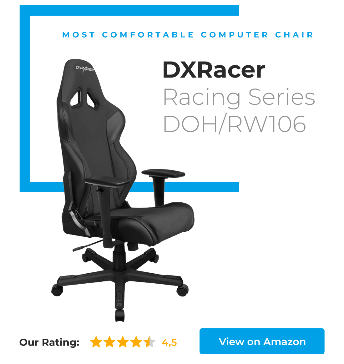 Most comfortable computer chair award is going to DXRacer Racing Series - great chair for gamers.