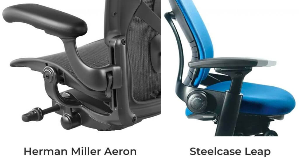 Comparison of armrests between Aeron and Leap chairs