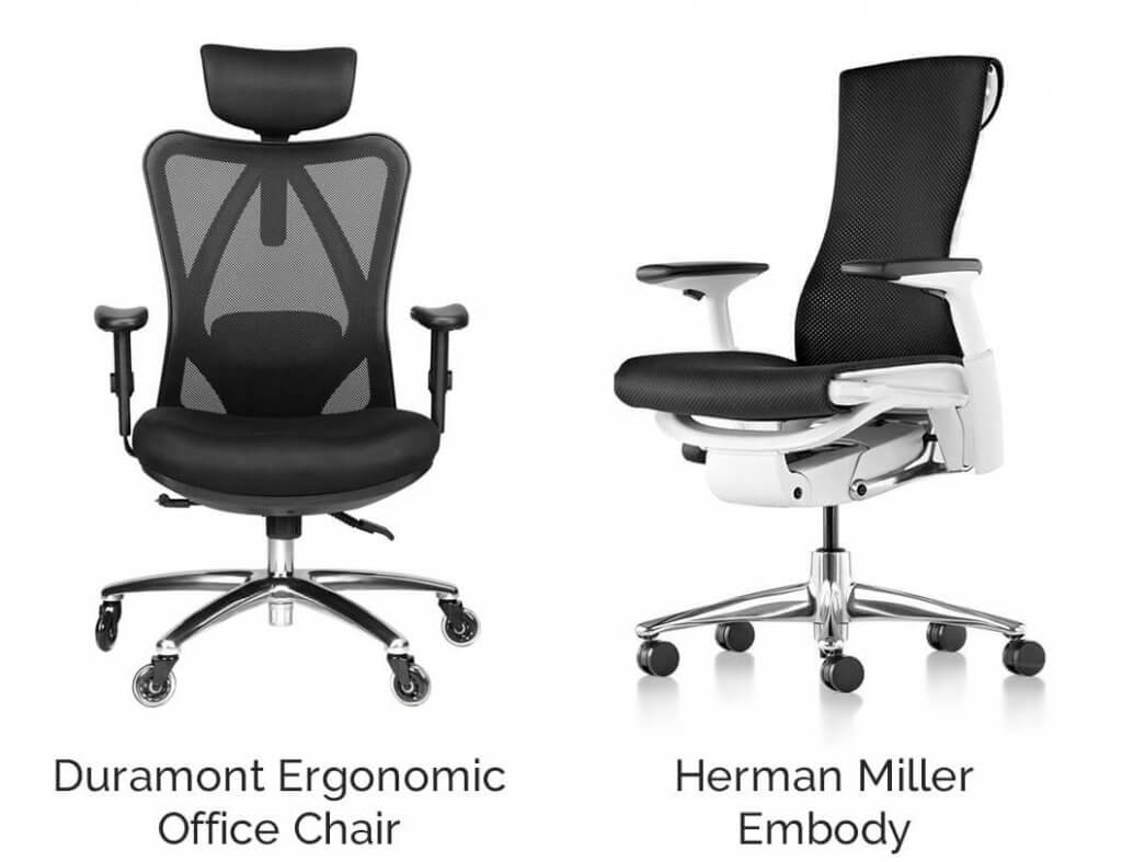 Duramont Ergonomic Office Chair with Rollerblade Wheels vs Herman Miller Embody