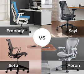 Which Herman Miller in 2020 - Comparison of Aeron, Embody, Sayl and Setu chairs