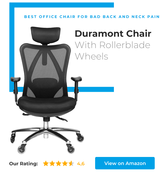 Duramont Office Chair with headrest and rollerblade wheels