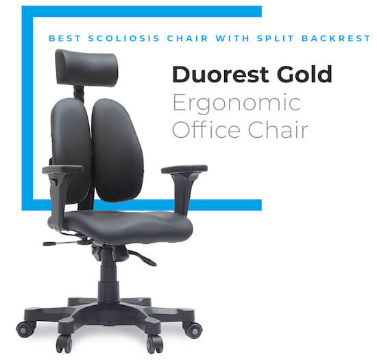 Duorest Gold Leather Chair with Twin Backrests - best scoliosis chair
