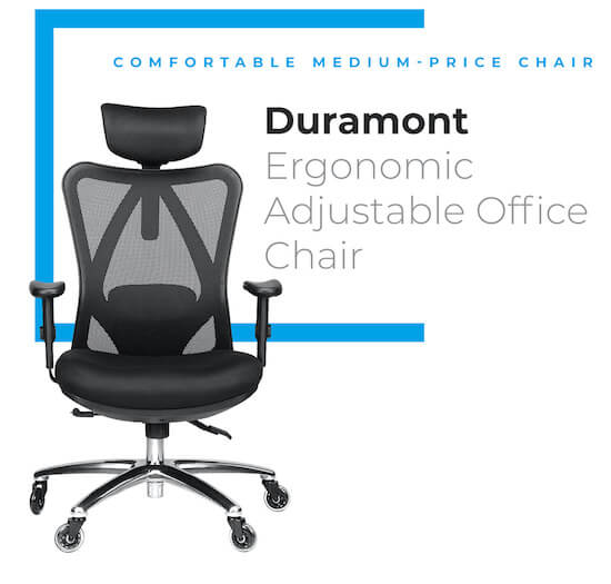 Duramont Chair with rollerblade wheels and mesh back