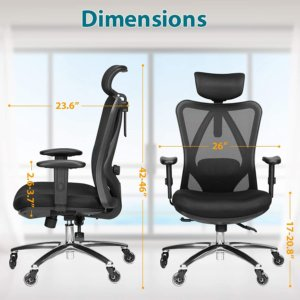 dimensions of Duramont ergonomic office chair