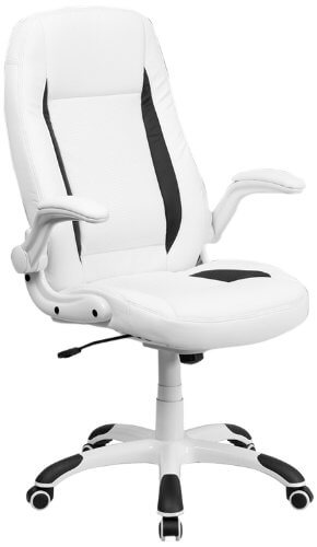High Back White Leather Executive Swivel Office Chair with Flip Up Arms