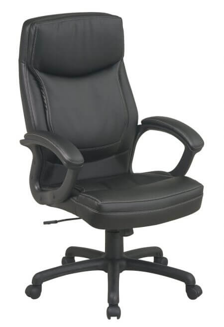 Office Star High Back Thick Padded Contour Seat and Back Eco Leather Executive Chair with Locking Tilt Control